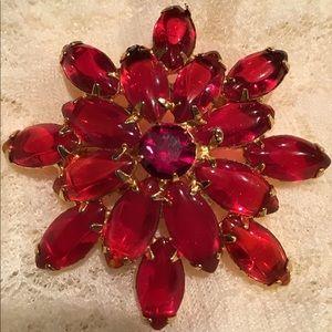 Vintage Juliana Style Red Glass Flower Brooch